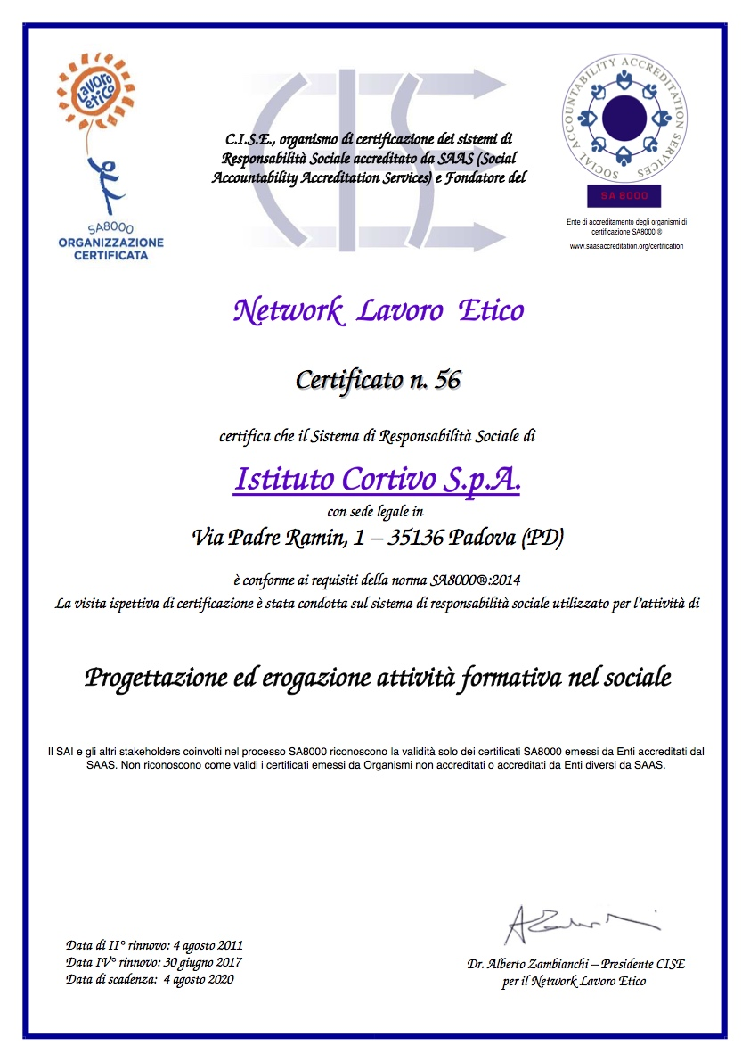 Certificato di Rinnovo SA8000_2014